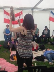 Meditation and drumming workshop at uk festival