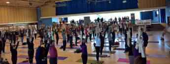 yoga class at Greenwich yoga and vegan festival